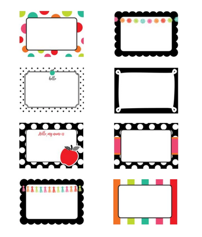 Black, White and Stylish Brights Name Tags {U PRINT}