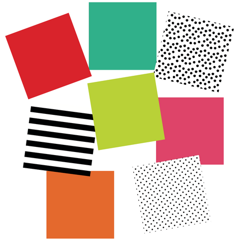 Black, White and Stylish Brights Coordinating Papers