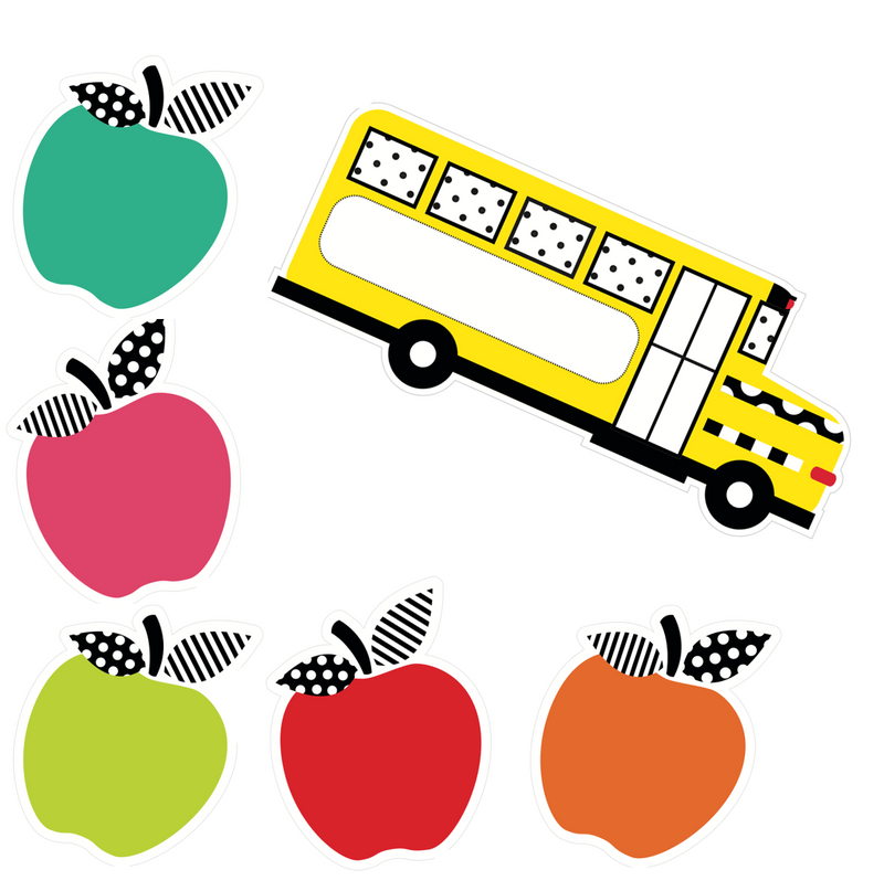 Black, White and Stylish Brights BUS and APPLES Cutouts {U PRINT}