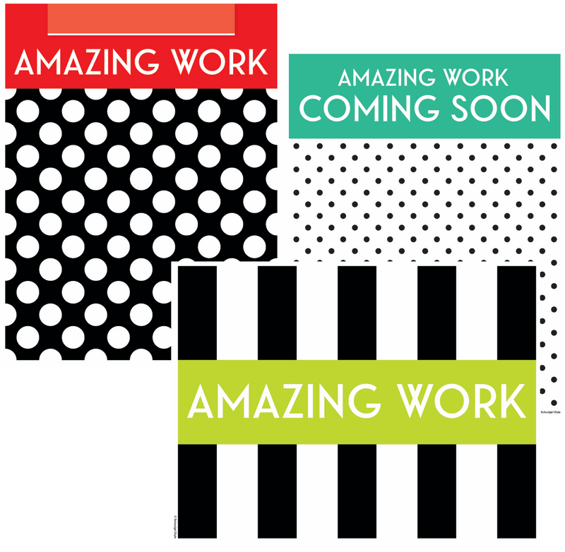Schoolgirl Style - Black, White and Stylish Brights Amazing Work Display {U PRINT}