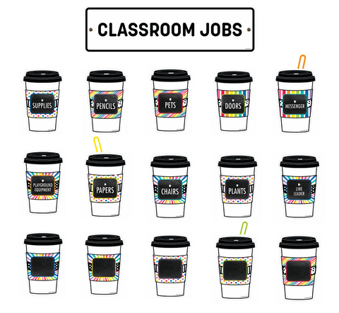Bright and Brew-tiful Classroom Jobs Mini Bulletin Board Set {U PRINT}