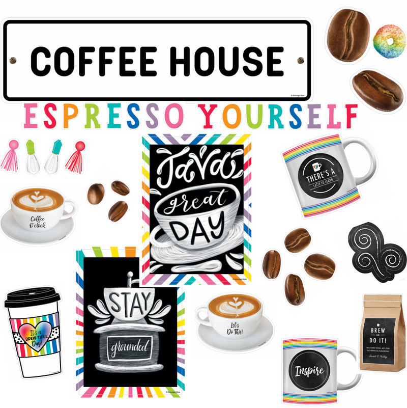 Schoolgirl Style - Bright and Brew-tiful 'Espresso Yourself' Mini Bulletin Board Set {U PRINT}