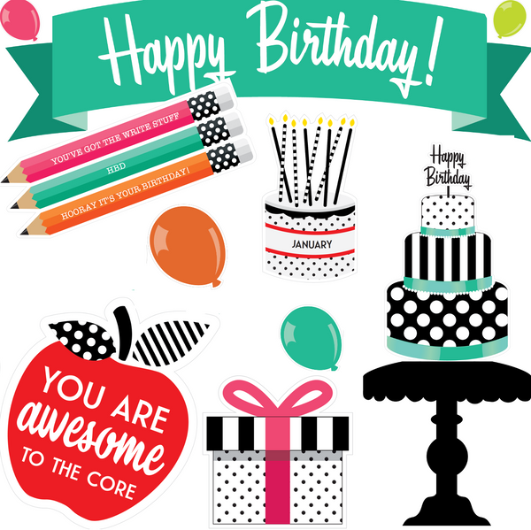 Black, White and Stylish Brights Birthday Bulletin Board {U PRINT}