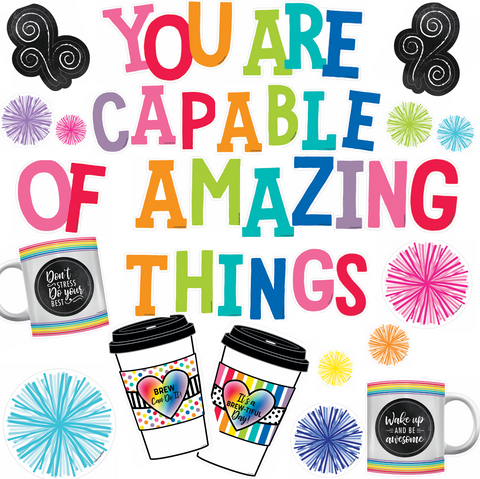 Bright and Brew-tiful 'You are Capable of Amazing Things' Pom Pom Bulletin Board Set {U PRINT}