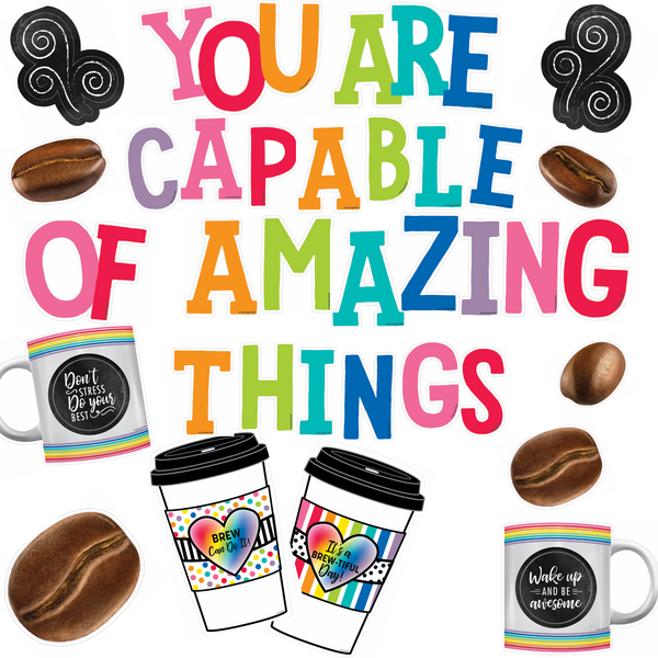 Bright and Brew-tiful 'You are Capable of Amazing Things' Coffee Beans Bulletin Board Set {U PRINT}