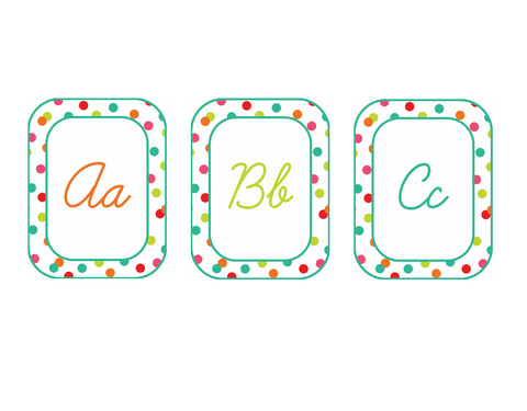 Black, White and Stylish Brights Confetti CURSIVE Alphabet Cards {U PRINT}