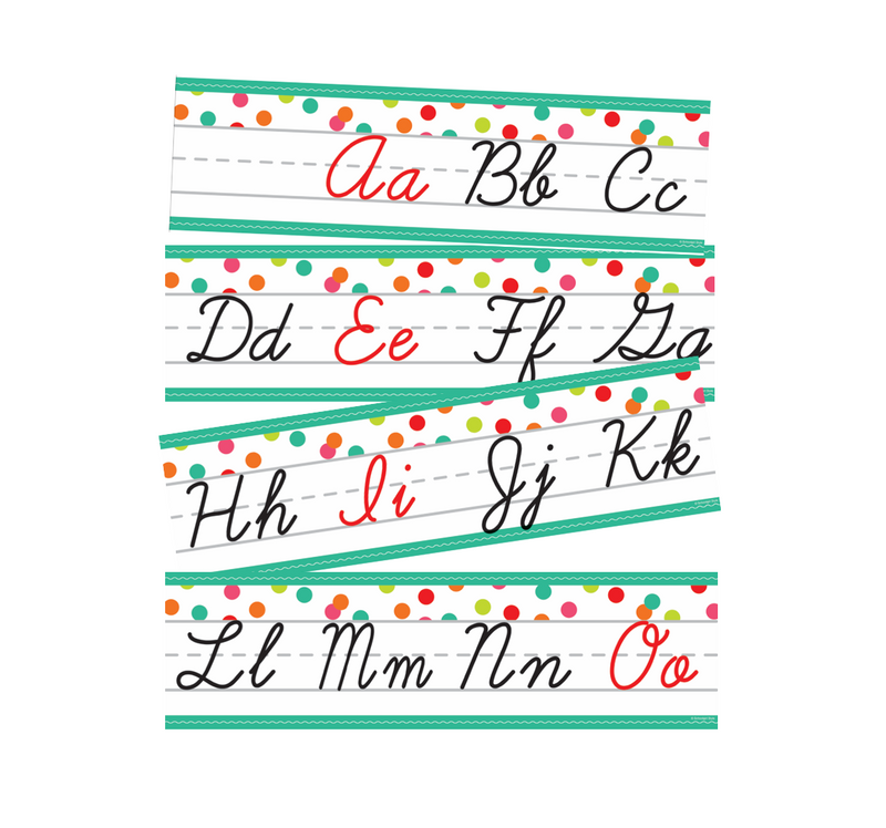 Schoolgirl Style - Black, White and Stylish Brights Confetti Cursive Alphabet Line {U PRINT}
