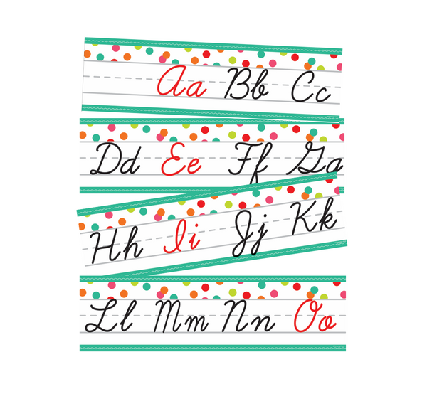 Black, White and Stylish Brights Confetti Cursive Alphabet Line {U PRINT}