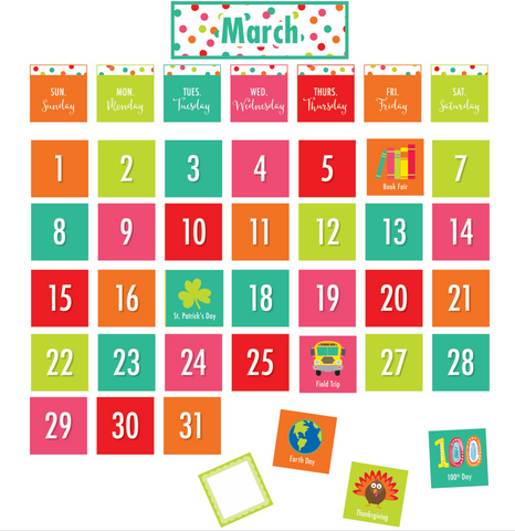Black, White and Stylish Brights Confetti Pocket Chart Calendar {U PRINT}