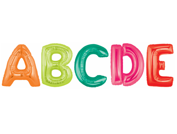 Black, White and Stylish Brights Confetti RAINBOW Alphabet Balloons {U PRINT}