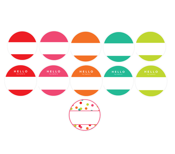 Black, White and Stylish Brights Confetti CIRCLE Name Tags {U PRINT}