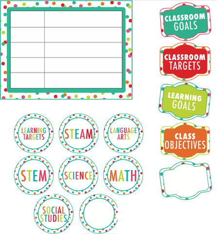 Black, White and Stylish Brights Confetti Learning Targets {U PRINT}