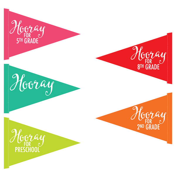 "Black, White and Stylish Brights Confetti ""Hooray"" Pennants {U PRINT}"