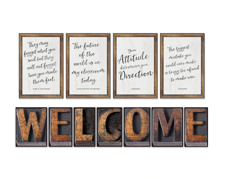 Schoolgirl Style - Industrial Chic Welcome letters and posters Bulletin Board Set