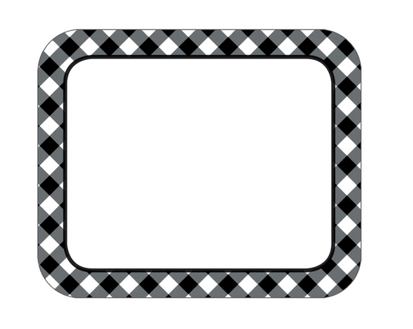 Black & White Gingham Name Tags