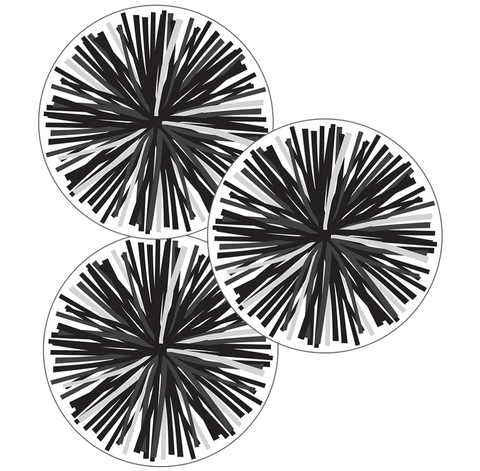 Simply Stylish Black & White Poms Cut-Outs