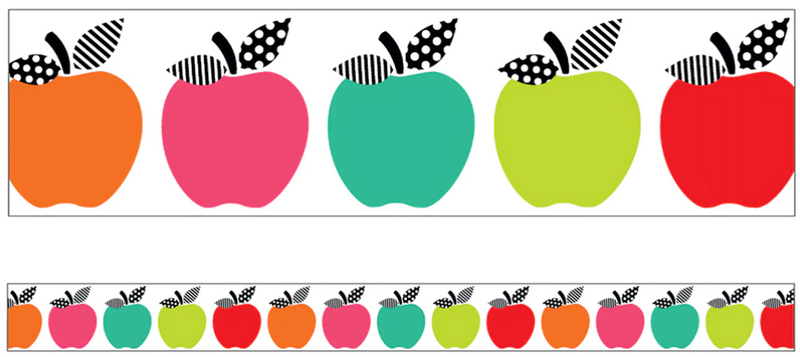 Schoolgirl Style - Black, White and Stylish Brights - Apple Frame Border