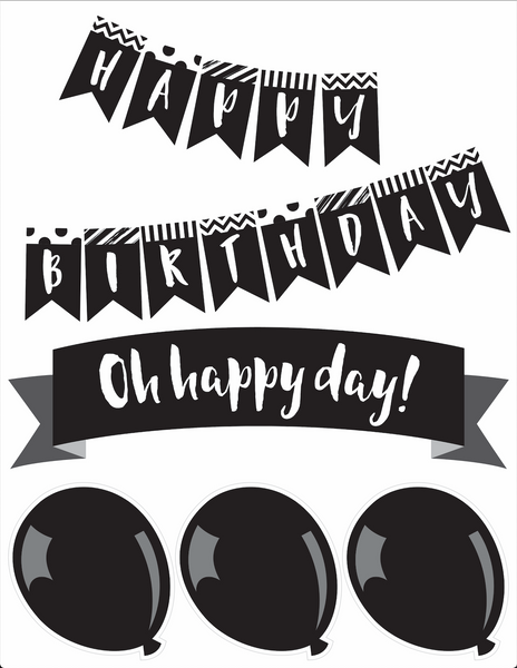 Just Teach Black and White - Birthday Bulletin Board Set