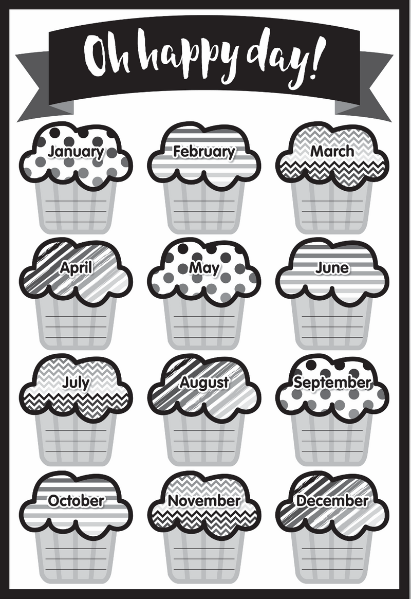 Schoolgirl Style -  Just Teach Black and White- Birthday Chart {UPRINT}