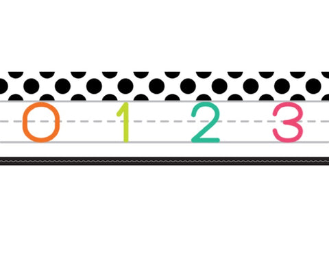 Black, White and Stylish Brights Number Line (White)