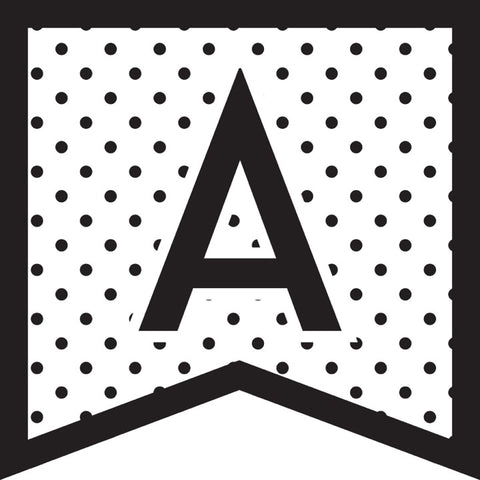 Black, White and Stylish Brights Banner Letters - Polka Dots