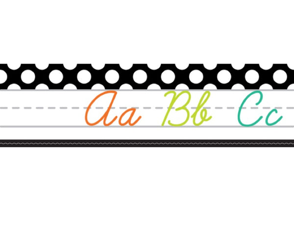 Black, White and Stylish Brights Alphabet Line Cursive (Black)