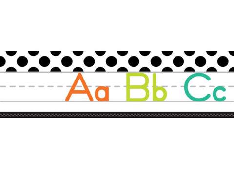 Black, White and Stylish Brights Alphabet Line Manuscript (White)