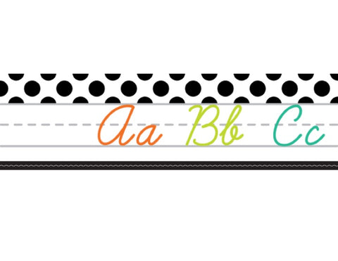 Black, White and Stylish Brights Alphabet Line Cursive (White)