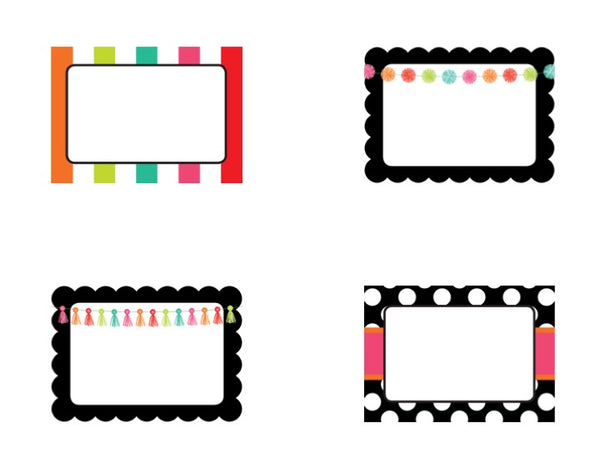 Black, White and Stylish Brights Name Tags