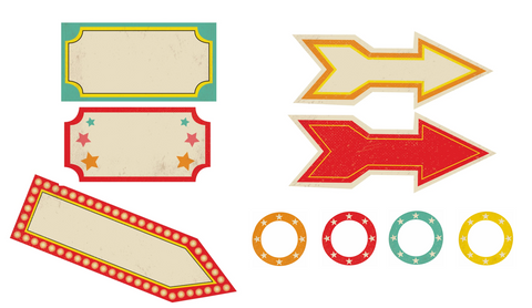 Vintage Circus - Cutouts (Editable!) {UPRINT}