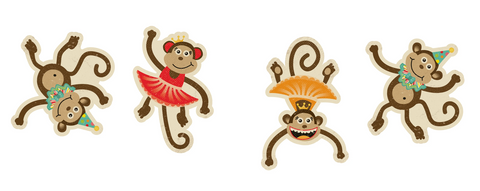 Vintage Circus - Large Monkey Cutouts {UPRINT}