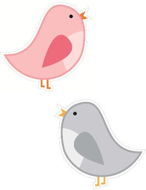 Pink and Gray Birds Cut Outs