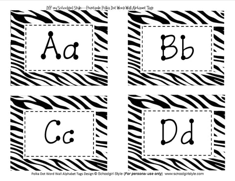Zebra Word Wall Labels
