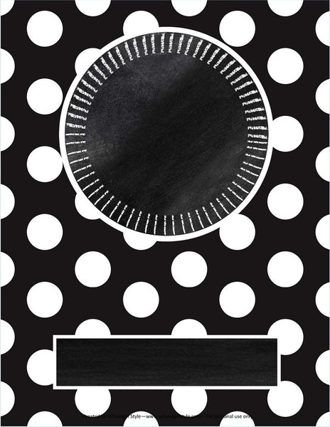 Chalkboard & Polka Dot -Binder Covers