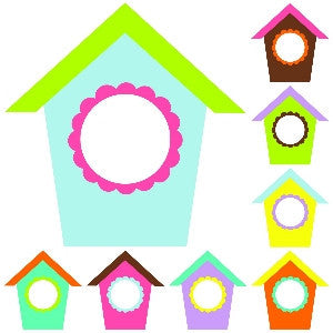 Bright Birdhouses Cut Outs
