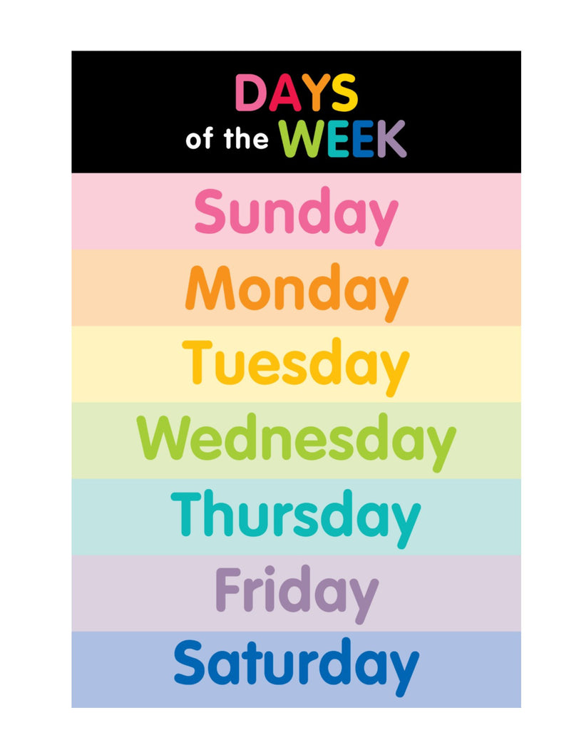 color my classroom days of the week and months of the year posters