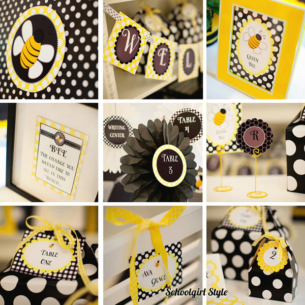 Happy Honeybee Book Basket Labels