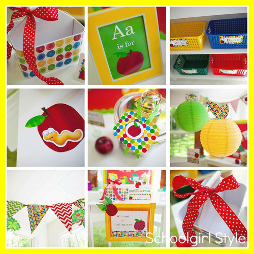 Primary Apple Chevron Number Tags {UPRINT}