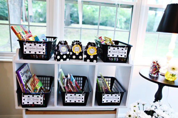 Polka Dot Book Basket Labels