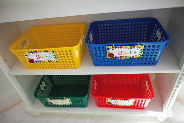 Primary Apple Book Basket Labels