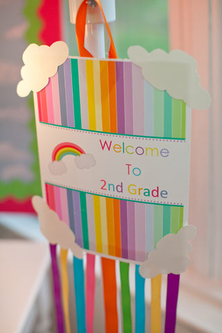 Rainbow Welcome Sign and Decorative Papers