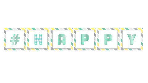 """# Happy"" Square Banner Letters {UPRINT}"