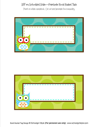 Owl Book Basket Labels