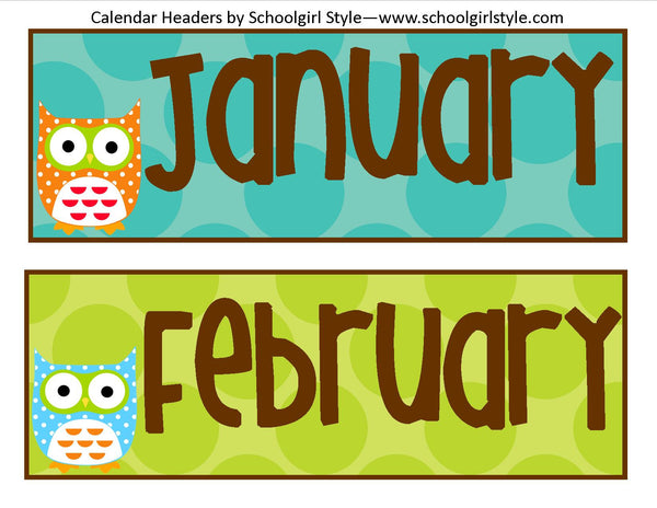 Owl Calendar Headers