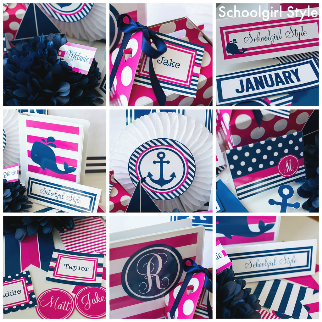 Preppy Nautical Hot Pink And Navy Blue Full Collection