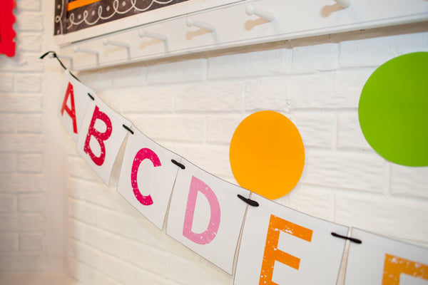 Happy Rainbow Large Alphabet Pennant Banner {UPRINT}