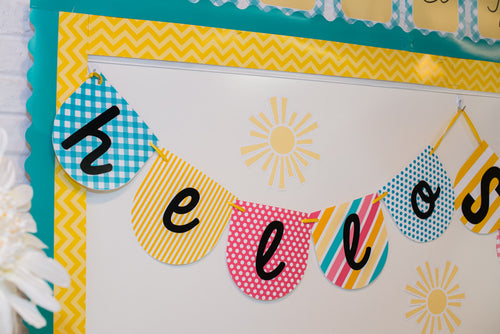 """Hello! Sunshine Coral"" Banner Letters {UPRINT}"