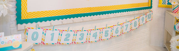 Hello! Sunshine Coral Large Number Pennant Banner {UPRINT}