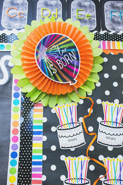 Schoolgirl Style - Twinkle Twinkle You're A Star! Stars Birthday Bulletin Board Set