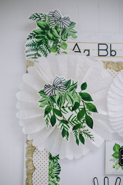 Schoolgirl Style - Simply Boho Greenery with Black and White Ribbon Cut-Outs